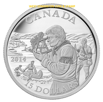 2014 $15 FINE SILVER COIN EXPLORING CANADA: THE PIONEERING MAPMAKERS