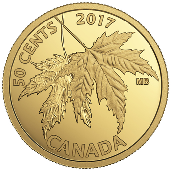 SALE - 2017 50-CENT PURE GOLD COIN THE SILVER MAPLE LEAF