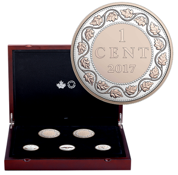 SALE - 2017 LEGACY OF THE PENNY COIN SET - FINE SILVER WITH ROSE GOLD PLATE