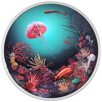 2016 $30 FINE SILVER COIN ILLUMINATED UNDERWATER REEF