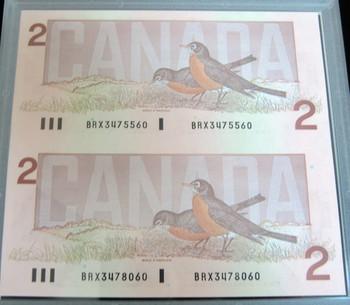 CANADIAN 1996 $2 PIEDFORT TOONIE & 2 UNCUT BRX BANKNOTE SET