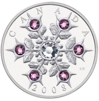 2008 $20 FINE SILVER COIN - CRYSTAL SWAROVSKI AMETHYST SNOWFLAKE