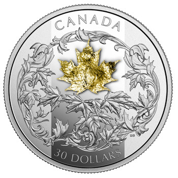 2018 $30 FINE SILVER COIN GOLDEN MAPLE LEAF