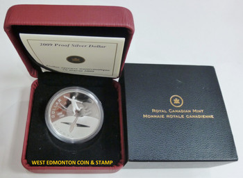 2009 PROOF COMMEMORATIVE SILVER DOLLAR - 100TH ANNIVERSARY OF FLIGHT IN CANADA