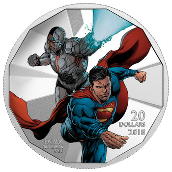 2018 $20 FINE SILVER COIN THE JUSTICE LEAGUE™ : CYBORG AND SUPERMAN