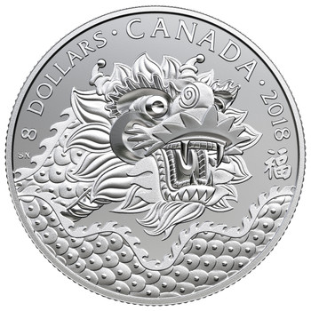 2018 $8 FINE SILVER COIN DRAGON LUCK