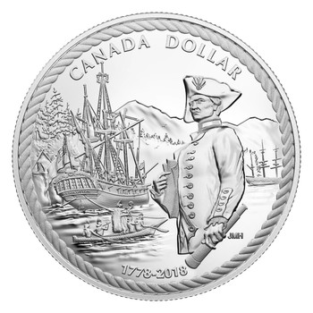 2018 PROOF SILVER DOLLAR- 240TH ANNIVERSARY OF CAPTAIN COOK AT NOOTKA SOUND