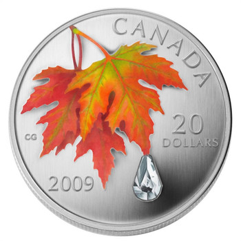 2009 $20 FINE SILVER COIN - AUTUMN SHOWERS CRYSTAL RAINDROP