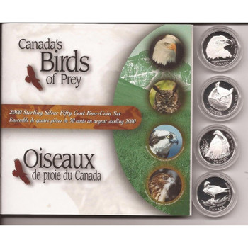 2000 STERLING SILVER 50-CENT FOUR-COIN SET - CANADA'S BIRDS OF PREY