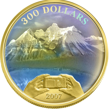 2007 $300 14KT GOLD COIN - CANADIAN ACHIEVEMENTS - ROCKIES