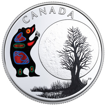 2018 $3 FINE SILVER COIN - THE THIRTEEN TEACHINGS FROM GRANDMOTHER MOON: BEAR MOON