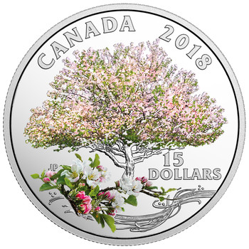 2018 $15 FINE SILVER COIN CELEBRATION OF SPRING: APPLE BLOSSOMS