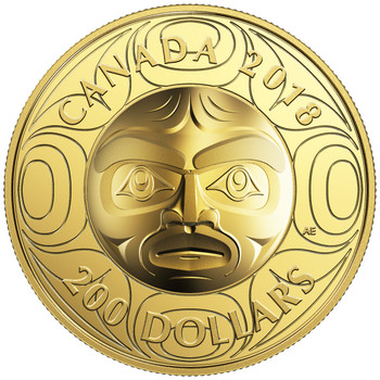 2018 $200 PURE GOLD COIN ULTRA-HIGH RELIEF ANCESTOR MOON MASK