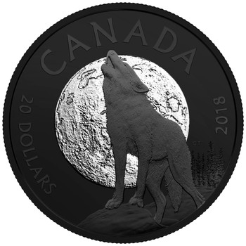 2018 $20 FINE SILVER COIN NOCTURNAL BY NATURE: THE HOWLING WOLF