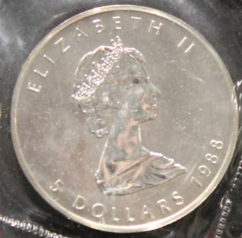 1oz. 1988 CANADIAN SILVER MAPLE LEAF COIN