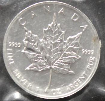 1oz. 1993 CANADIAN SILVER MAPLE LEAF COIN