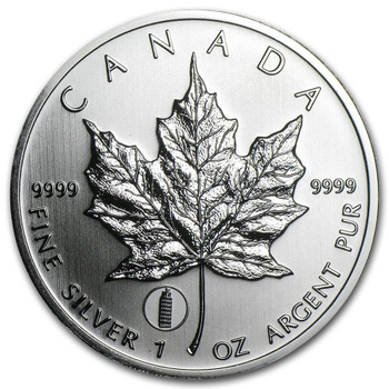 1oz. 2012 CANADIAN TOWER OF PISA PRIVY MARK SILVER MAPLE LEAF COIN