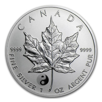 1oz. 2016 CANADIAN YIN YANG PRIVY MARK SILVER MAPLE LEAF COIN