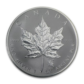 1oz. 2004 CANADIAN LEO PRIVY MARK SILVER MAPLE LEAF COIN