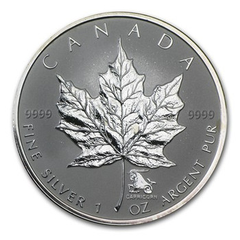 1oz. 2004 CANADIAN CAPRICORN PRIVY MARK SILVER MAPLE LEAF COIN