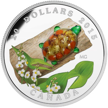 SALE - 2015 $20 FINE SILVER COIN VENETIAN GLASS TURTLE WITH BROADLEAF ARROWHEAD FLOWER