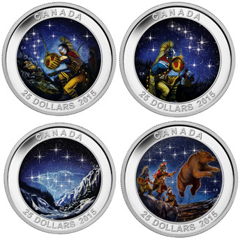 SALE - 2015 $25 FINE SILVER COIN STAR CHARTS: 4 COIN SET