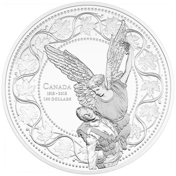 2018 $100 FINE SILVER COIN - THE ANGEL OF VICTORY 100TH ANNIVERSARY OF THE FIRST WORLD WAR ARMISTICE