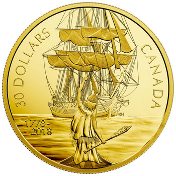 2018 $30 FINE SILVER COIN CAPTAIN COOK AND THE HMS RESOLUTION