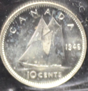 1946 CANADIAN 10-CENT ICCS  MS-64