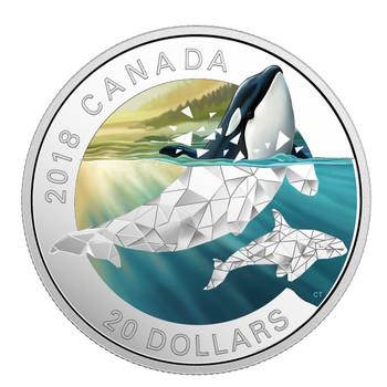 2018 $20 FINE SILVER COIN GEOMETRIC FAUNA SERIES: ORCAS