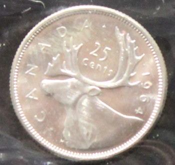 1964 CANADIAN 25-CENT ICCS MS-64 (HEAVY CAMEO)