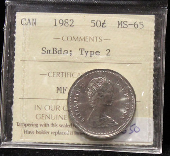 1982 CANADIAN 25-CENT ICCS MS-65 (SmBds; TYPE 2)