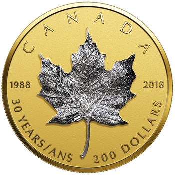 2018 $200 PURE GOLD COIN 30TH ANNIVERSARY OF THE SILVER MAPLE LEAF