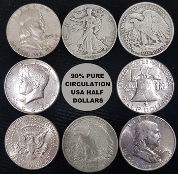 $1 FACE VALUE BAG OF UNITED STATES CIRCULATION 90% PURE SILVER COINS (2 HALF DOLLARS)