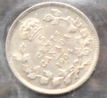 1904 CANADIAN FIVE CENT ICCS EF - 40