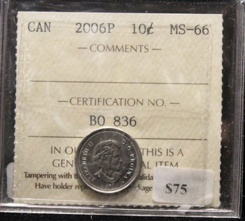 2006P CANADIAN TEN CENT ICCS MS-66