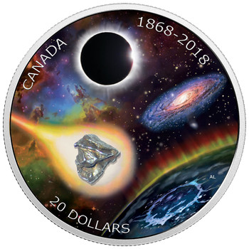 2018 $20 FINE SILVER COIN – 150TH ANNIVERSARY OF THE ROYAL ASTRONOMICAL SOCIETY OF CANADA