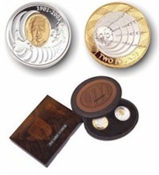 2001 2-COIN SET 100TH ANNIVERSARY OF THE 1ST WIRELESS  TELEGRAPH TRANSMISSION