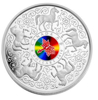 2010 $8 STERLING SILVER COIN - MAPLE OF STRENGTH - HOLOGRAM HORSE CHINESE ZODIAC