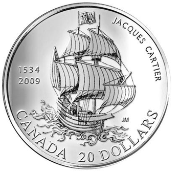 2009 $20 PURE SILVER COIN - 475TH ANNIVERSARY OF JACQUES CARTIER'S ARRIVAL (1534-2009)
