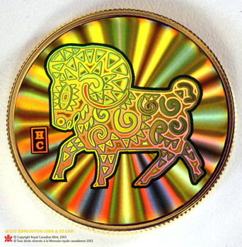2003 $150 18KT GOLD COIN - LUNAR HOLOGRAM - YEAR OF THE SHEEP