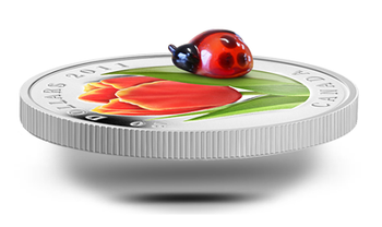 2011 $20 FINE SILVER COIN - TULIP WITH VENETIAN GLASS LADYBUG