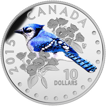 2015 $10 FINE SILVER COIN COLOURFUL SONGBIRDS OF CANADA: BLUE JAY