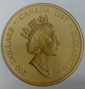 "1997 $200 GOLD COIN - HAIDA ""RAVEN BRINGING LIGHT TO THE WORLD"""