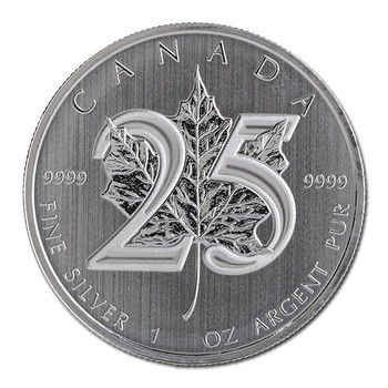 1oz. 2013 CANADIAN 25TH ANNIVERSARY SILVER MAPLE LEAF COIN