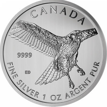 1oz. 2015 CANADIAN RED TAILED HAWK SILVER COIN