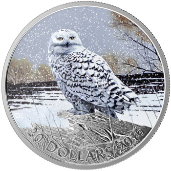 2016 $20 FINE SILVER COIN - MAJESTIC ANIMALS - SNOWY OWL