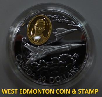 1996 AVRO ARROW $20 SILVER CANADA CF-105 AVIATION COIN