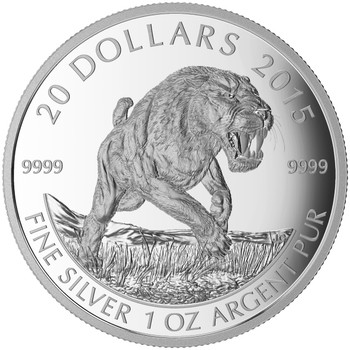 2015 $20 FINE SILVER COIN PREHISTORIC ANIMALS - AMERICAN SCIMITAR SABRE-TOOTH CAT