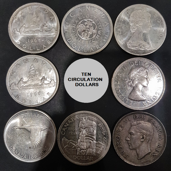 10 PRE 1967 CANADIAN CIRCULATION SILVER DOLLARS (80% PURE)